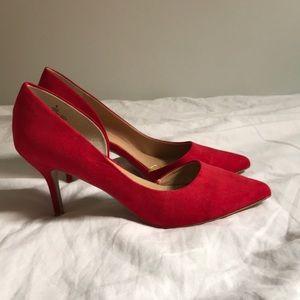 Express red suede heel with short heel
